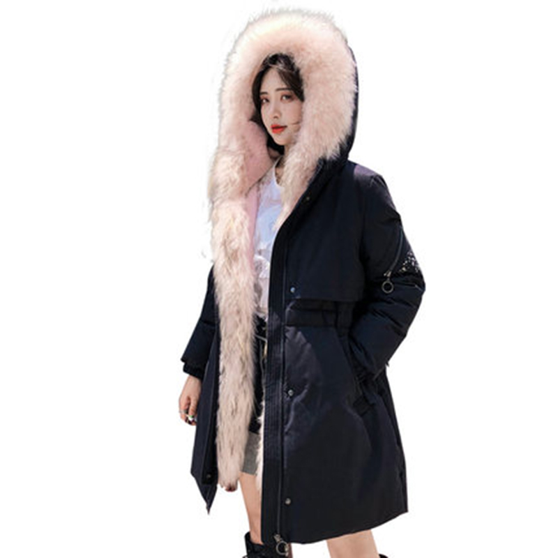 Winter   Coat   Women 90% Duck   Down   Jacket Women Fashion Large Raccoon Fur Collar Hooded Parka Female Long Thick   Down     Coats   YP2088