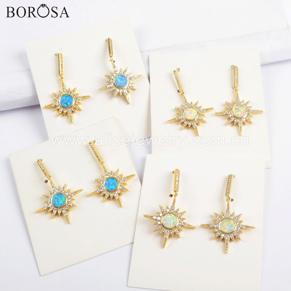 BOROSA 5Pairs Gold Bezel Star Crysta CZ Micro Pave White Blue Opal Druzy Dangle Earring Manmade Opal Earring Jewelry ZG0391