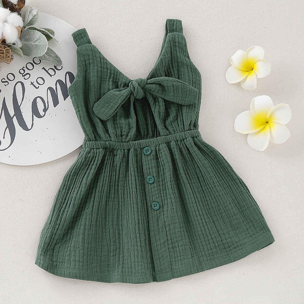 Pudcoco marka nowy maluch letnie dziecko sukienka dla dziewczynek bawełna i pościel jednolity kolor sukienka na imprezę Sundress