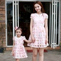 Summer FAMILY clothes falbala short sleeve mother and daughter Dresses women Girl dress Parent child Girls Party dress