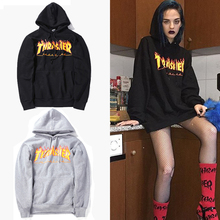 Thrasher Hoodies 2016 Männer und frauen Trasher sweatshirts langarm flammen alphabet gedruckt hip-hop casual paar tops Plus Größe