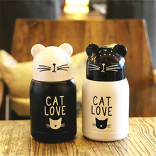 200ML Mini cute Cat Stainless steel Vacuum Thermos coffee mug Portable Pocket Creative Cat mug water bottle Birthday gift thermo