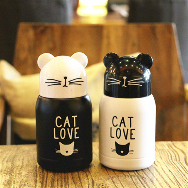 200ML Mini Cute Cat Stainless Steel Vacuum Thermos Coffee Mug Portable Pocket Creative Water