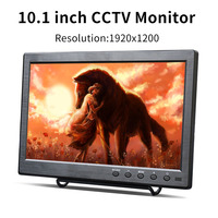 New 10.1 inch LCD HD Monitor Mini TV & Computer Display 1920*1200 Resolution Security Monitor With Speaker VGA HDMI BNC
