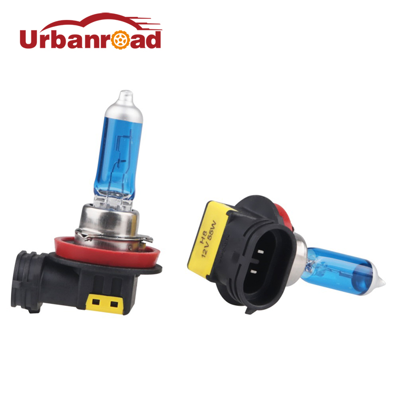 Urbanroad 1 Pair <font><b>White</b></font> 6000k 12v Auto <font><b>h8</b></font> <font><b>Halogen</b></font> Lamp Car Headlight Lamp <font><b>h8</b></font> 6000k <font><b>Halogen</b></font> <font><b>White</b></font> Bulb Super <font><b>White</b></font> Head Light Bulb image