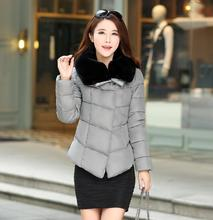 Autumn Winter Women Jacket Elegant Down Cotton Jacket for Woman Padded Big Soft Fur Collar Warm