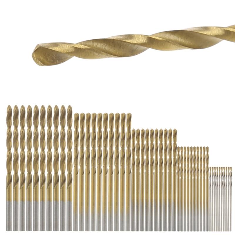 50 шт. высокое Скорость Сталь покрытие Титан покрытием Металл сверло и привод немного набор инструментов 1/1. 5/2/2.5/3 мм L15