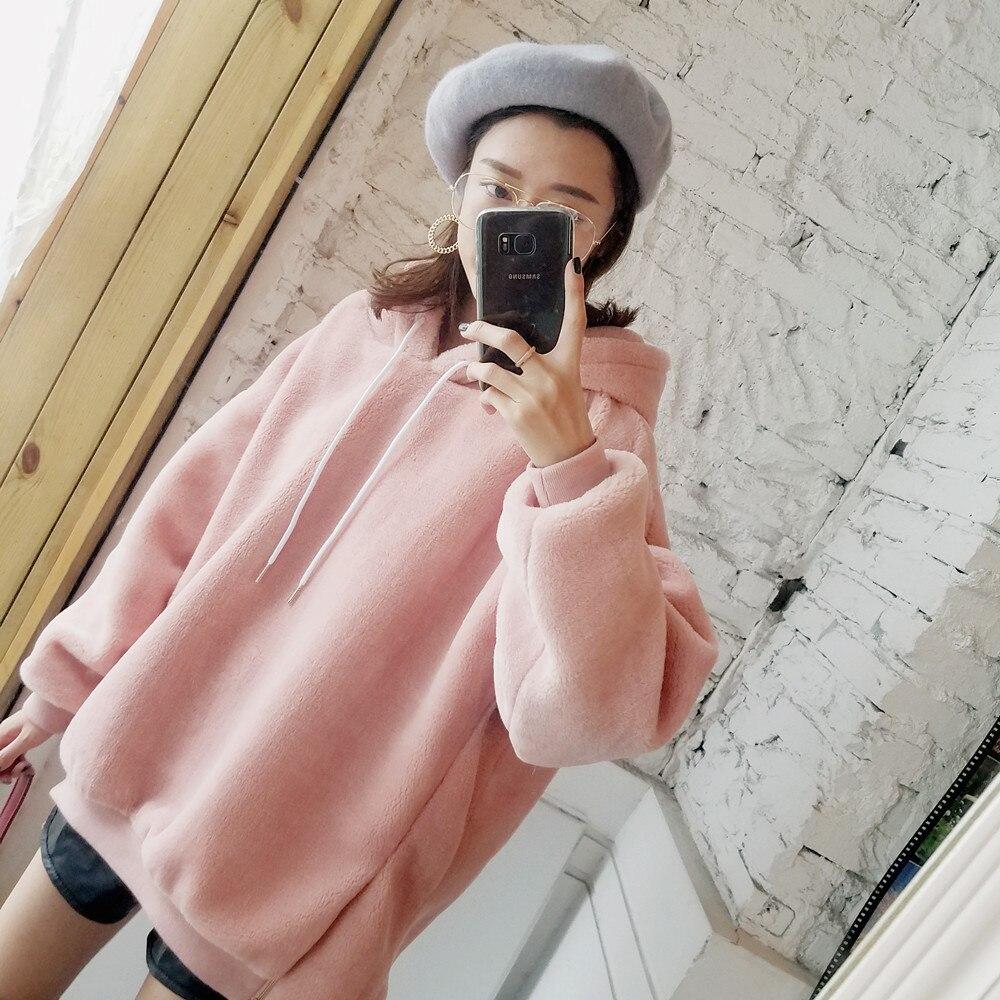Haute qualité fausse fourrure laine asymétrique rose hoodies sweat femmes oversize manteaux 2019 printemps automne décontracté collège mode