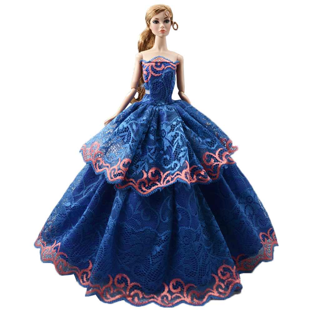 NK One Pcs Princess Wedding Dress Elegant Temperament Style Blue Cute Lace Noble Party Gown For Barbie Doll Girl' Doll Toys 067A