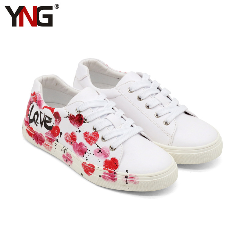 YNG Orgianl Stan Women Sneakers Shoes Print Flower Lace-up Sport Shoes Woman Flats High Quality Jordan Casual Shoes Size 36-39 glowing sneakers usb charging shoes lights up colorful led kids luminous sneakers glowing sneakers black led shoes for boys