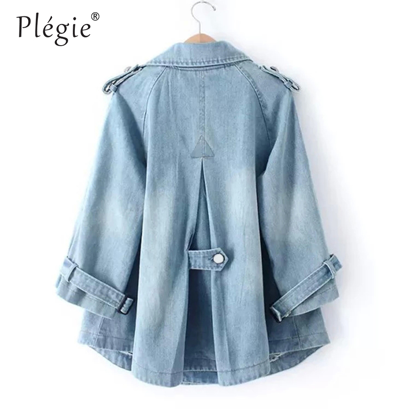 Plegie Denim Cape Coat Female   Jacket   Double-Breasted Big Size harajuku   Jackets   Women Windbreaker A-Line Denim   Basic   Coats