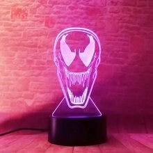 Venom Figure 3D Illusion LED Desk NightLight Flashing Glow in the Dark