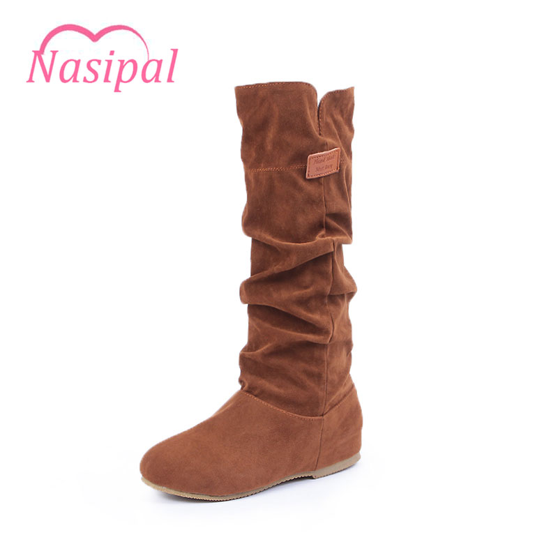 Nasipal Half Boots Woman new arrive Mid-Calf Women Boots Black Beige Brown Flat heels Casual shoes half boots Winter shoes C048 mid calf women boots black white brown big size 34 43 new winter mid calf women boots black white brown for choice flats shoes