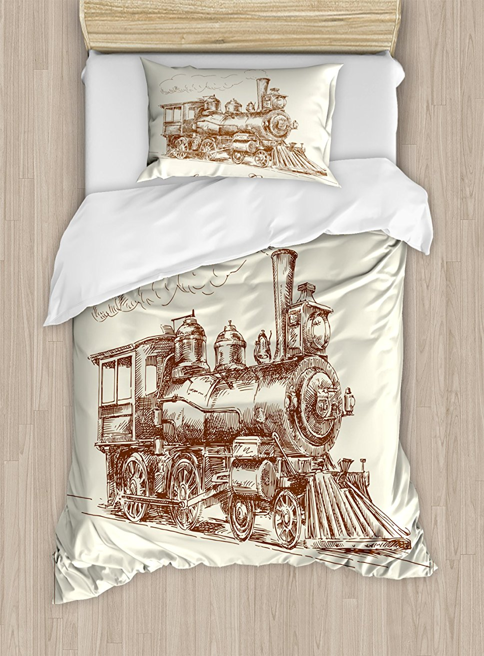 Steam Engine Duvet Cover Set , Old Times Train Vintage Hand Drawn Iron Industrial Era Locomotive, 4 Piece Bedding Set