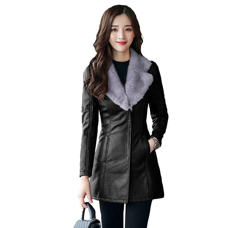 Autumn winter   leather   jacket women's Flocking Thicken warm PU   leather   coat natural fur collar Outerwear female Slim tops N252