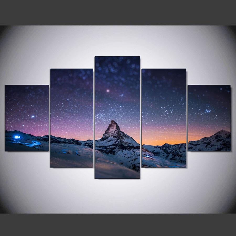 5 panel hd Sternenhimmel leinwand kunst wand gerahmte gemälde für ...