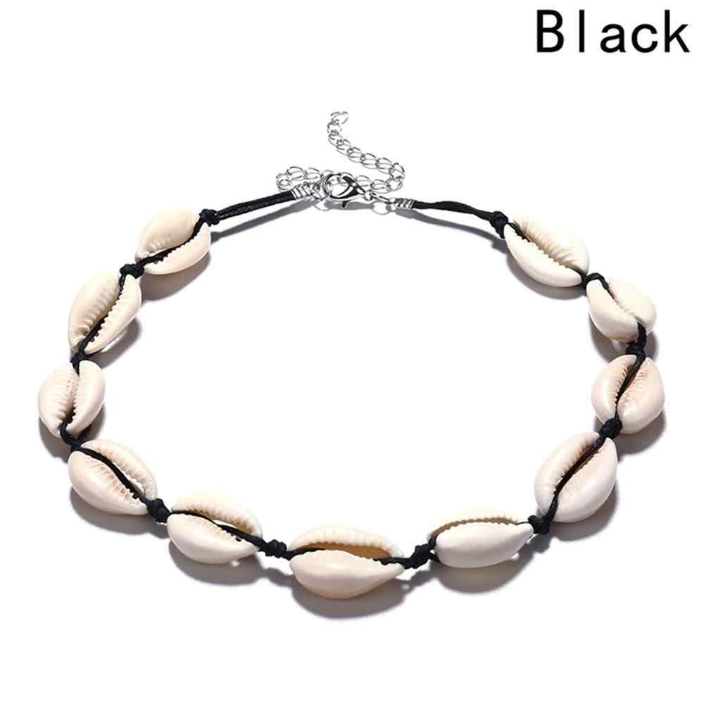 Bohemian Alami Shell Kalung untuk Wanita Cowrie Pesona Keong Kerang Kerah Kalung Pantai Boho Musim Panas Kalung Perhiasan Collares