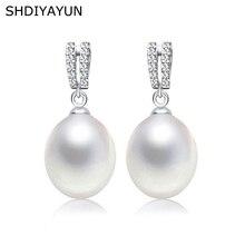 купить SHDIYAYUN 2019 Fine Pearl Earrings Natural Freshwater Pearl Drop Earrings 925 Sterling Silver Jewelry For Women Diamond Earrings дешево