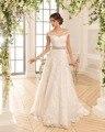 Dreagel New Arrival Romantic Boat Neck A-line Wedding Dresses 2017 Delicate Lace Appliques Bride Dress Robe de Mariage Plus Size