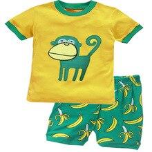 Summer Boys Pajamas Sets Monkey Short Sleeve Children