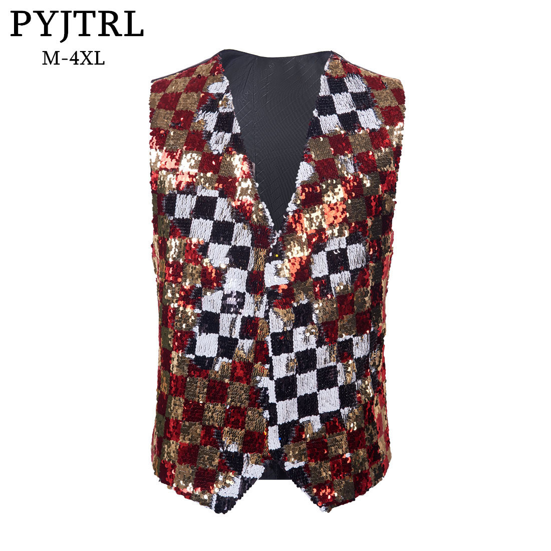 PYJTRL Brand  New Double-sided Colors Red Gold Black White Plaid Sequins Waistcoat Vest Men Gilet Homme Stage Singers Costume