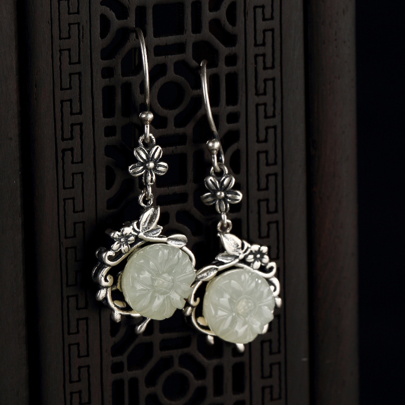 Restoring Ancient Ways Do Old Mosaic Hetian Jade White Jade Plum Flower Lady High-grade Pendant Earrings Wholesale