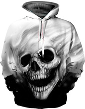 Hot 2019 autumn winter skull 3D personality fashion lovers Europe loose Hallowen men and women cap baseball uniform hoodies