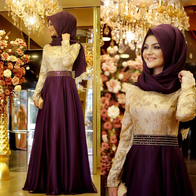 Purple Gold Lace Chiffon Cheap Modest A Line Long Sleeves Muslim Hijab High  Neck Formal Long Evening Dresses For Wedding Party 8939d16b2ca7
