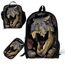 Dinosur School 3pcs/set 17 inch Book Bag with Pencil Case and Lunch for Age 6-15 Students Kids Boys Bagpack Panda Design