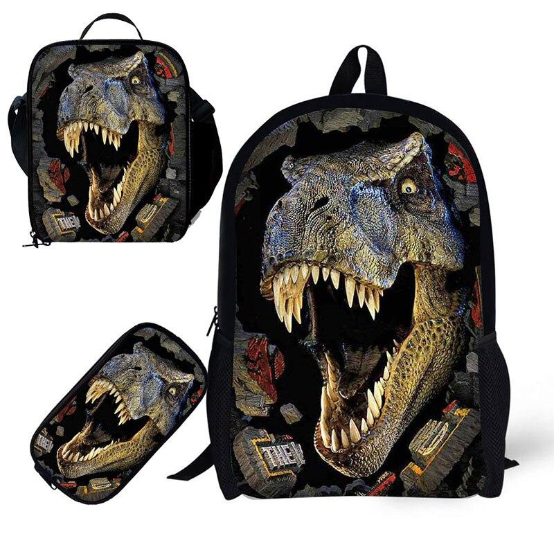 Dinosur School 3 pièces/ensemble 17 pouces sac de livre avec porte-crayon et sac à Lunch pour les élèves de 6 à 15 ans