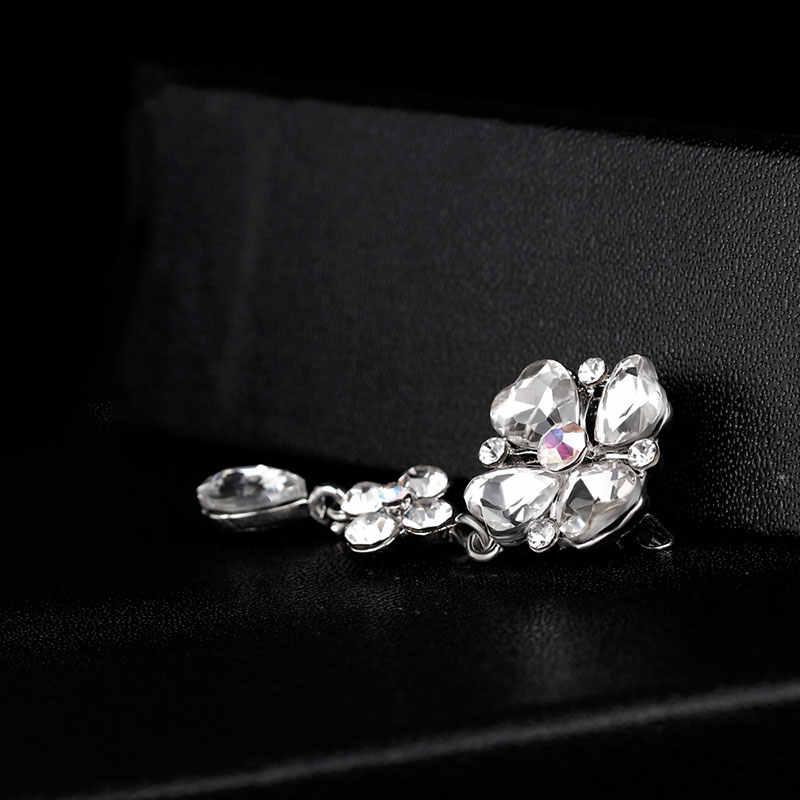 KARASU Jantung Bentuk Kristal Berlian Imitasi Air Jatuhkan Bros untuk Wanita Bros Pins Jewelry Wedding Party Dekorasi