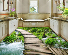 beibehang 3D Fashion custom advanced decorative painting wallpaper outdoor stream creek fantastic water floor tiles 3d