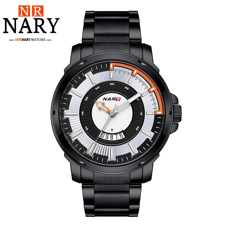 Mens NARY Top Brand Luxury Quartz Watch Casual Fashion Men uniform Business Watch Stainless Steel Sports Modern Gift WristWatch