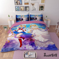 Mxdfafa Anime Sailor Moon Bed Sack Set cartoon bedding sets Luxury Duvet Cover 3pcs Include 1 Duvet Cover and 2 dakimakura case