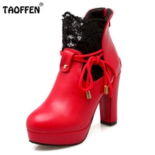Ladies High Heel Shoes Women Square Heels Boots Fashion Lace Platform Wedding Shoes Winter Warm Boots Footwear Size 34-39
