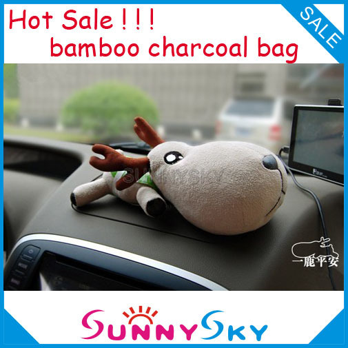 Free Shipping Car Air Fresher Clearner doll Purify Air Bamboo Charcoal Bag Radiation-proof Home Cleaning Cute deer small size