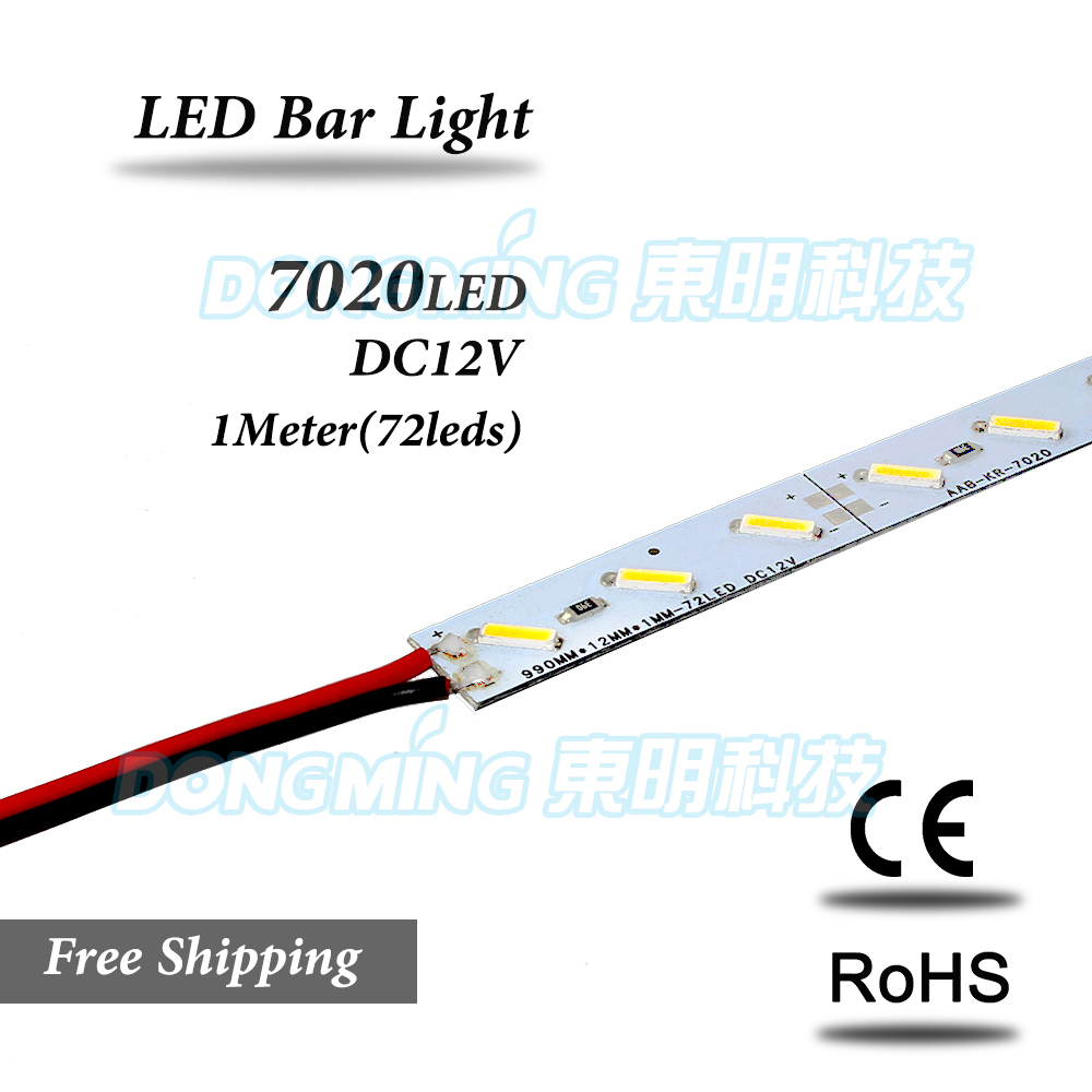 72Leds LED luces tira 1m IP22 12V Luz de barra led 7020 smd tira dura de LED cocina luz led para debajo de gabinete Tira de LED SMD 2835 60led ip22 12v murió