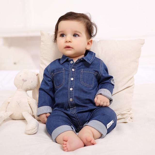 Ropa de bebé varón mameluco del bebé traje de primavera suave denim de  algodón ropa subir ec54c3eaf17