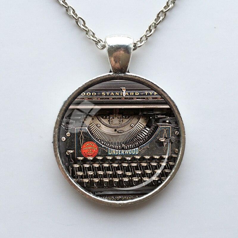 VINTAGE TYPEWRITER PENDANT Writer Gift for Writer Typewriter Jewelry Writers Necklace Black Red Gray Vintage Keyboard Jewelry
