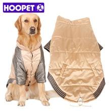 Купить с кэшбэком Hoopet Big Dog Clothes Winter Parkas Warm Stitching Color Champagne Gold Dog Winter Jumpsuit Husky Samoyed Clothes 3XL-7XL