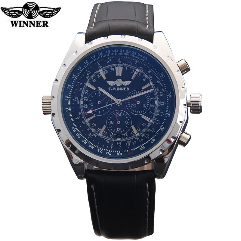 Prix pour HOT montres hommes top marque de luxe TWINNER sport armée militaire automatique mécanique montres bracelet en cuir relogio masculino
