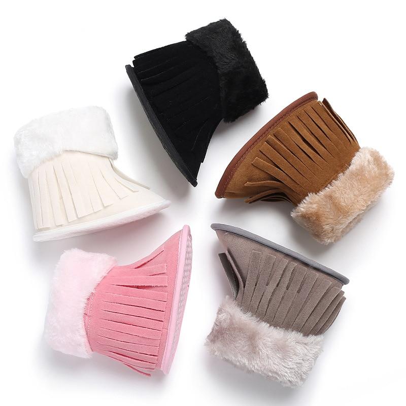 Snow Boots Winter Men And Women Baby Plus Velvet Warm Tassel Shoes