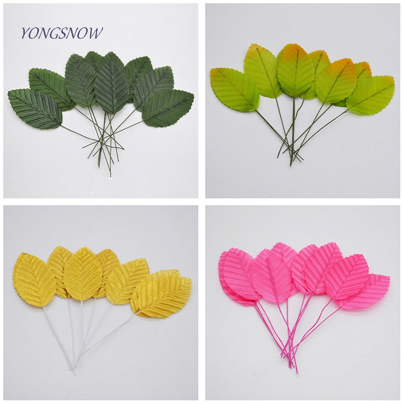 40pcs/lot Artificial Leaves High Simulation Leaves Silk Flower for Party Wedding Decoration Scrapbooking Flower Supplies