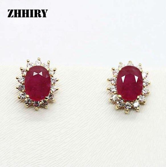 ZHHIRY женский натуральный рубиновый камень серьги настоящие твердые желтые серьги под золото драгоценный камень 1.02ct