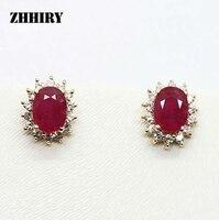 ZHHIRY Kobiety Naturalne Ruby Kamień Kolczyki Prawdziwe Stałe Kolczyki z Żółtego Złota Biżuteria Gem 1.02ct