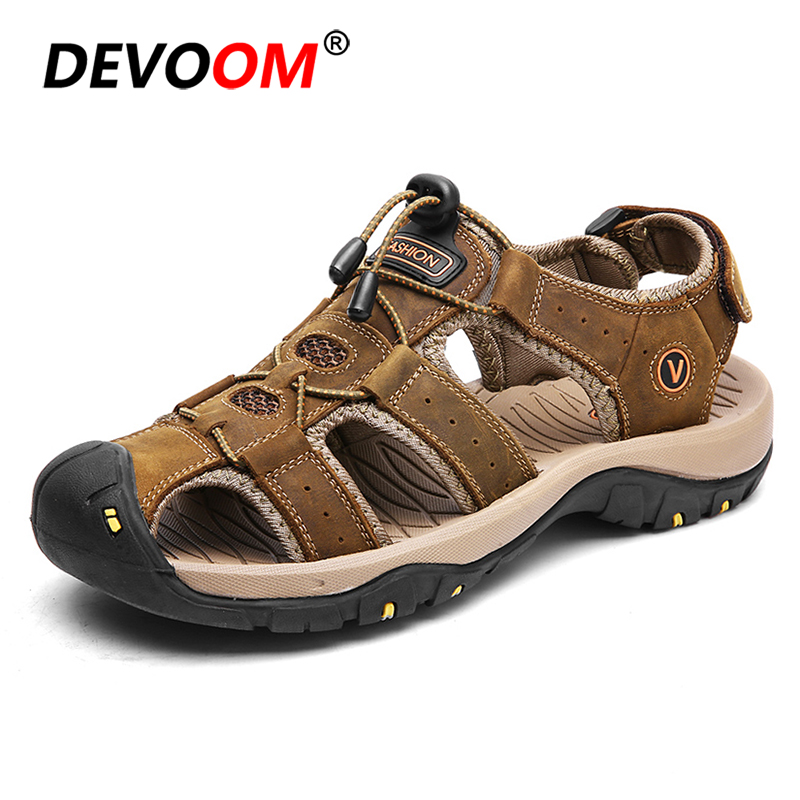 2018 Fashion Mens Sandals Summer Mens Genuine Leather Trail Outdoor Water Shoes 3 Layer Mens Melbo Journeyman Fisherman Sandal