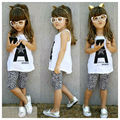 Retail Summer Style Girls Clothing Sets Letter Print Casual 2 Pcs Vest + Shorts Children Clothes Suits Sets for Girls Clothes