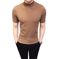 2019 Heat Fashion Short sleeve Sweater Mens Turtleneck Sweaters MaleBritish Style Basic Top Slim Fit Gentleman Sexy