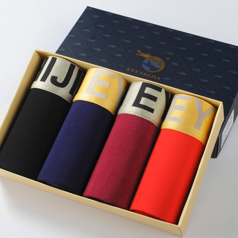 Free Ship 4pcs Gift Boxed modal antibacterial flat pants four corner male plus size L XL2XL 3XL 4XL underwear mens boxer shorts