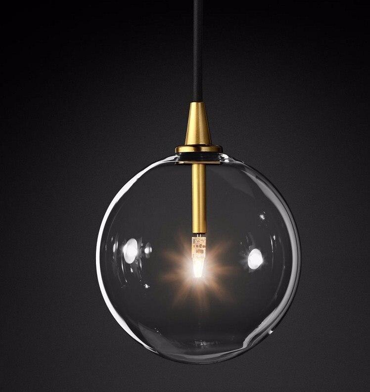 Moderno e minimalista Luzes De Teto Rotativo Lâmpada Led Rodada luzes Bola De Vidro Pendurado Criativo ferro Led G4 lâmpada Interior Home Bar ouro - 4
